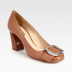 PRADA Patent Leather Buckle Pumps